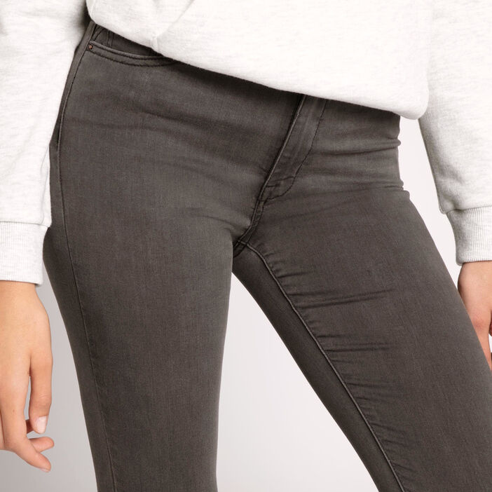 Jeans skinny taille haute used denim gris femme