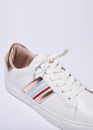 Baskets sneakers plates couleur or femme