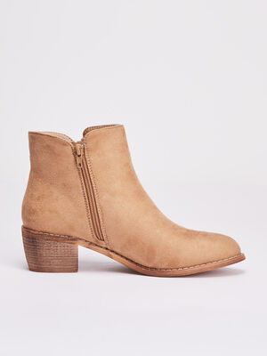 Bottines a talons zippees sable femme