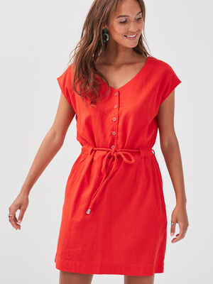 Robe droite taille ceinturee rouge femme