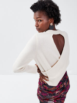 Pull manches longues ivoire femme