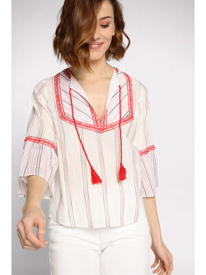 Blouse manches 34 evasees blanc femme