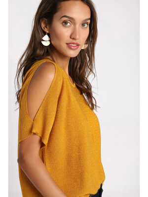 Pull manches courtes ajourees jaune moutarde femme