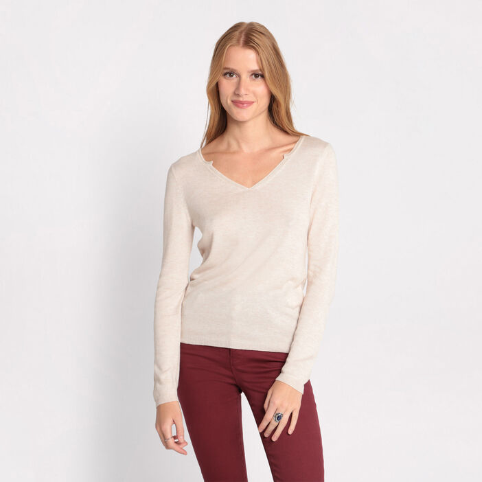 Pull manches longues strass sable femme