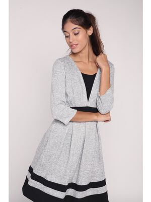 Robe tricot evasee bandes contrastees gris clair femme