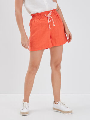 Short ample taille coulisse orange corail femme