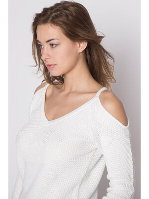 Pull maille nid dabeille decoupes ecru femme