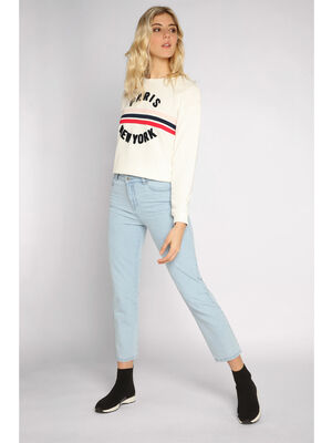 Jeans regular denim bleach femme