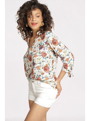 Blouse manches 34 nouees blanc femme