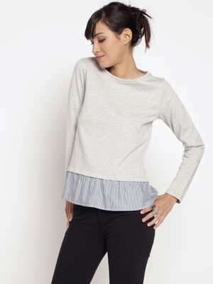 Sweat maille chinee doublure rayee gris clair femme
