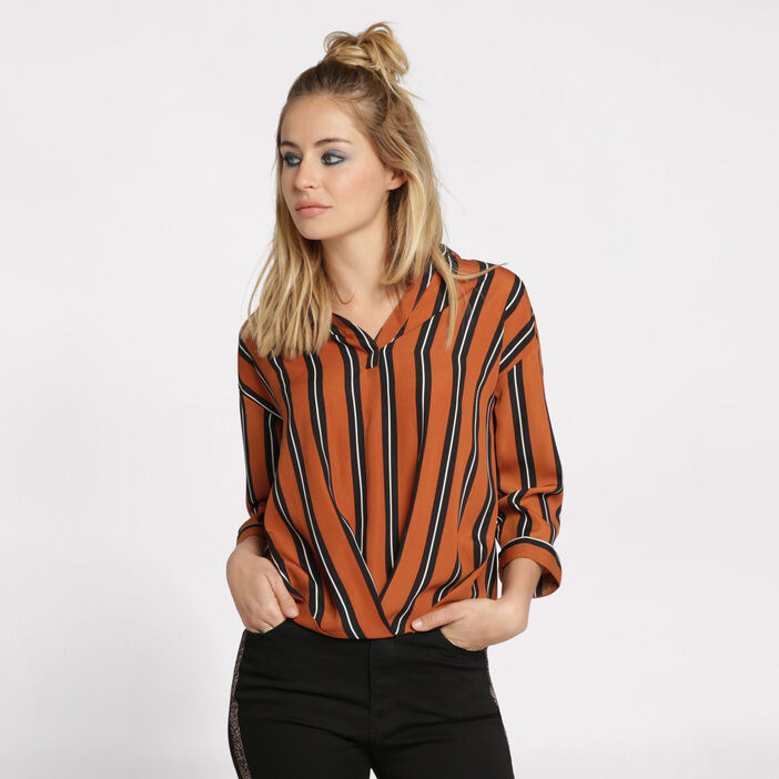 Blouse ample manches 3/4 jaune moutarde femme