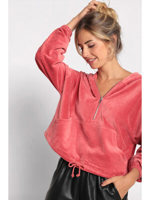 Sweat manches longues velours terracotta femme