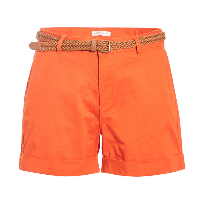 Short droit ceinturé orange femme