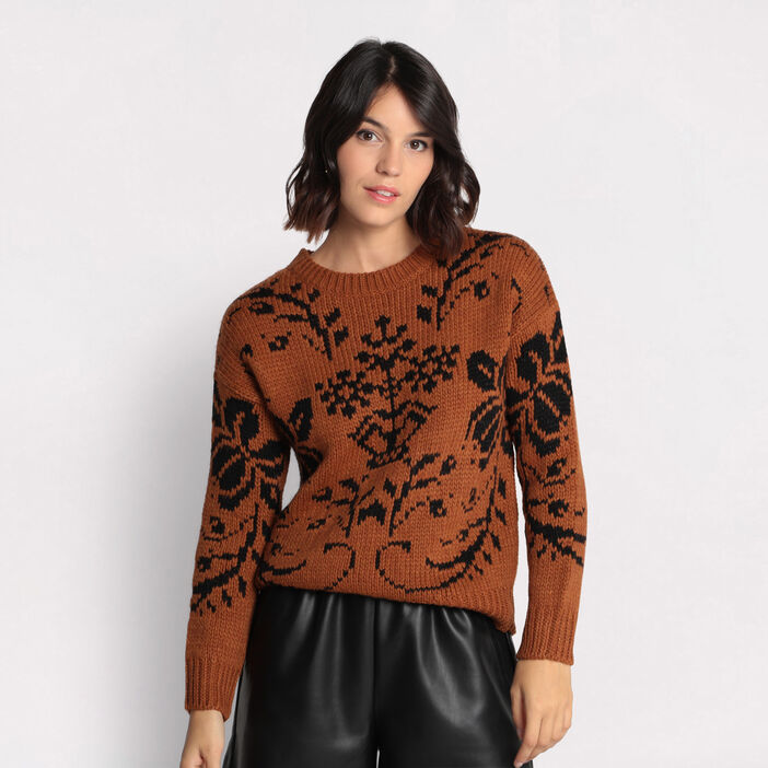 Pull col rond marron femme