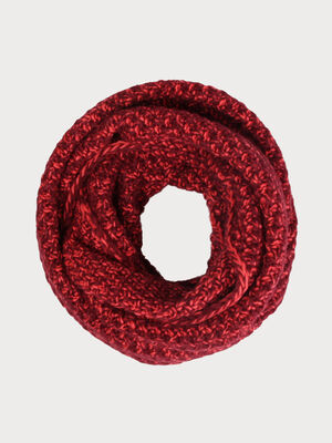 Snood grosse maille bicolore rouge fonce femme