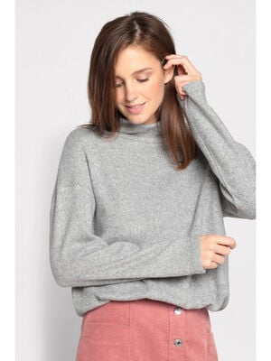 Pull col roule taille coulisse gris clair femme