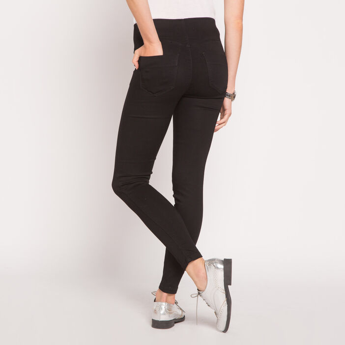 Jegging push-up uni denim noir femme