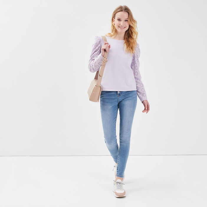 Sweat avec broderie anglaise mauve femme