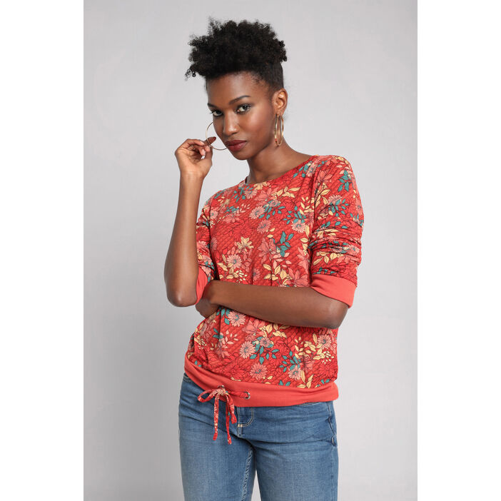 Sweat manches longues col rond rouge femme