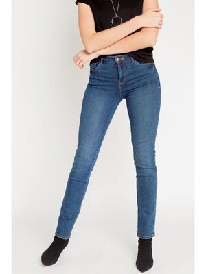 Jeans regular uni 5 poches denim stone femme