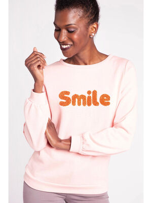 Sweat a message maille bouclette rose corail femme