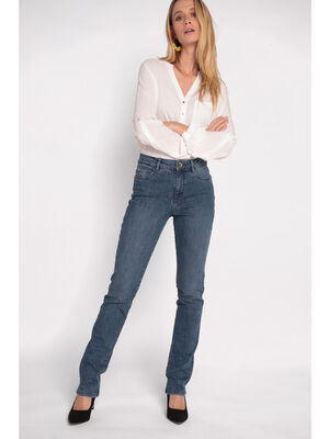 Jeans regular 5 poches denim stone femme