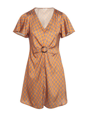 Robe manches courtes camel femme