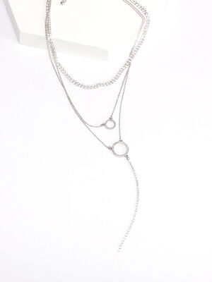 Collier multirangs strass couleur argent femme