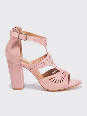 Sandales a talons perforees vieux rose femme