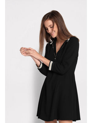 Robe patineuse col montant noir femme