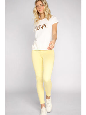 Jeans skinny taille haute jaune clair femme