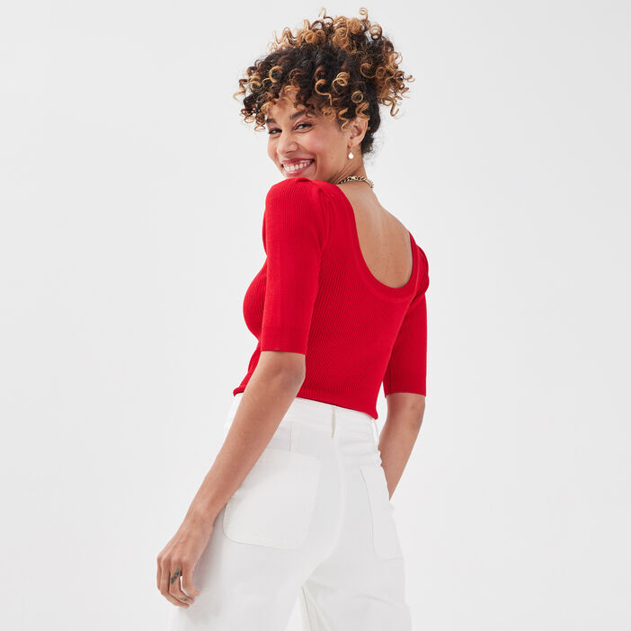 Pull manches 3/4 rouge femme