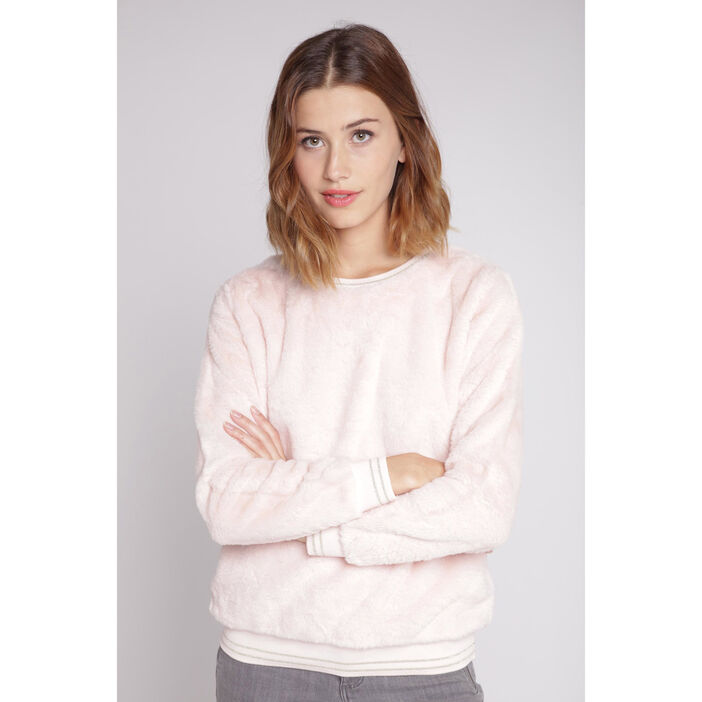Sweat manches longues fausse fourrure rose clair femme