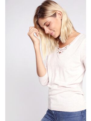 Pull fin lacage au col beige femme
