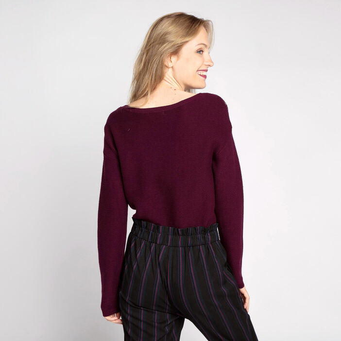 Pull maille ottomane boutons épaules prune femme