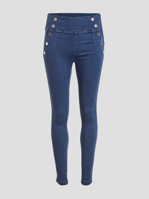 Jeans slim taille haute a pont denim dirty femme