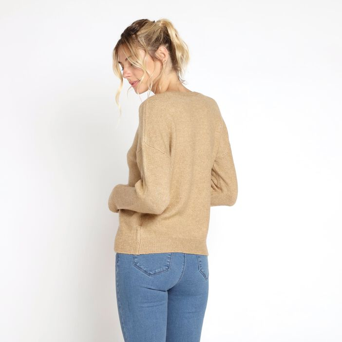 Pull manches longues maille unie marron clair femme