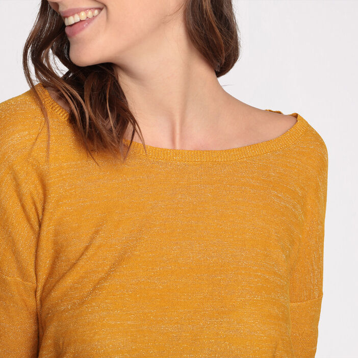Pull manches 3/4 fantaisie jaune moutarde femme