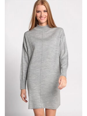Robe pull col montant gris clair femme