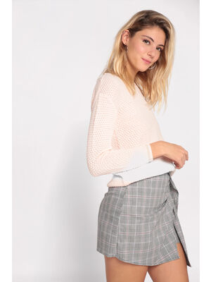 Pull manches longues a boutons rose clair femme