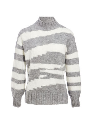 Pull col montant gris fonce femme