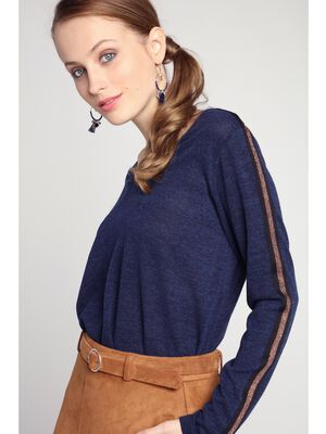 Top manches longues a bandes laterales bleu marine femme