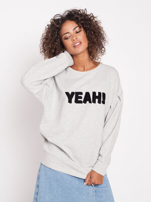 Sweat a message gris clair femme