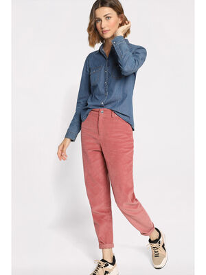 Pantalon mom velours rose femme