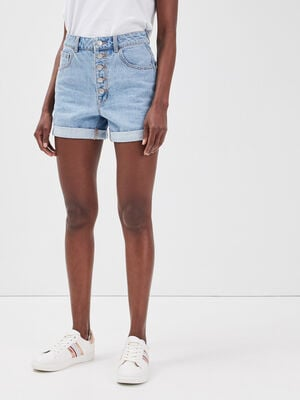 Short ample boutonne en jean denim bleach femme