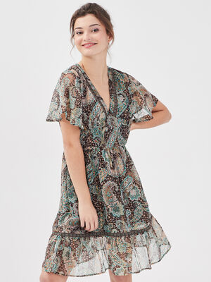 Robe evasee manches courtes marron fonce femme