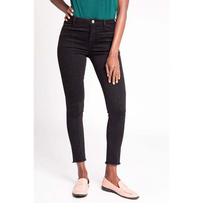 Jeans skinny cropped couture jambes noir femme