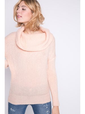 Pull col roule maille douce rose clair femme