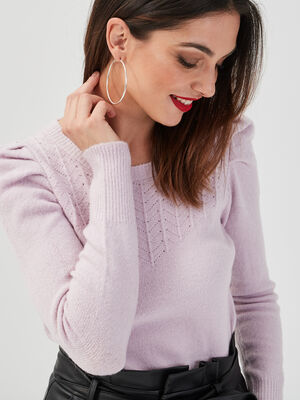 Pull ajoure epaules froncees violet clair femme