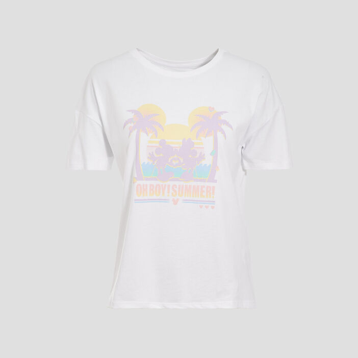 T-shirt manches courtes Mickey blanc femme